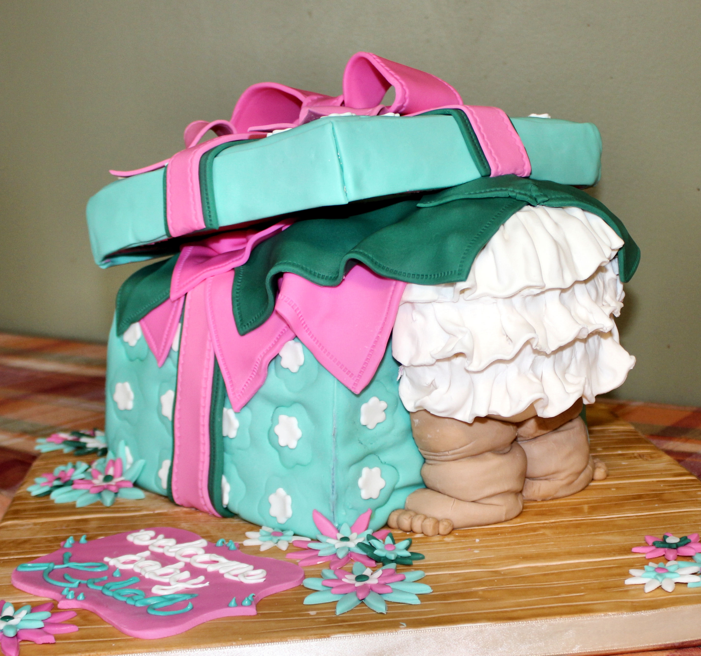 Fondant Covered 3 Layer Cake, Rice Kripies Treats Baby Bottom And Box Lid,  With Fondant Baby Legs And Accents.