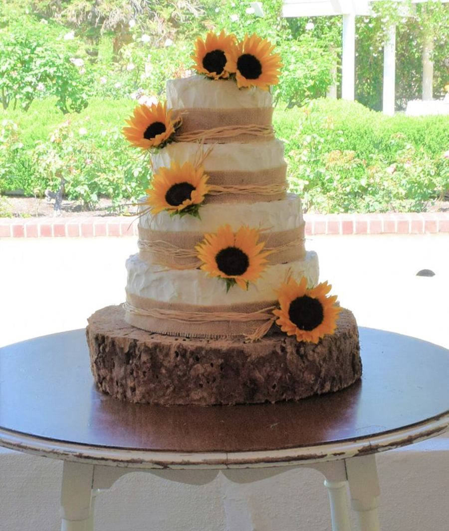 Sunflower Wedding Cake And Cupcakes