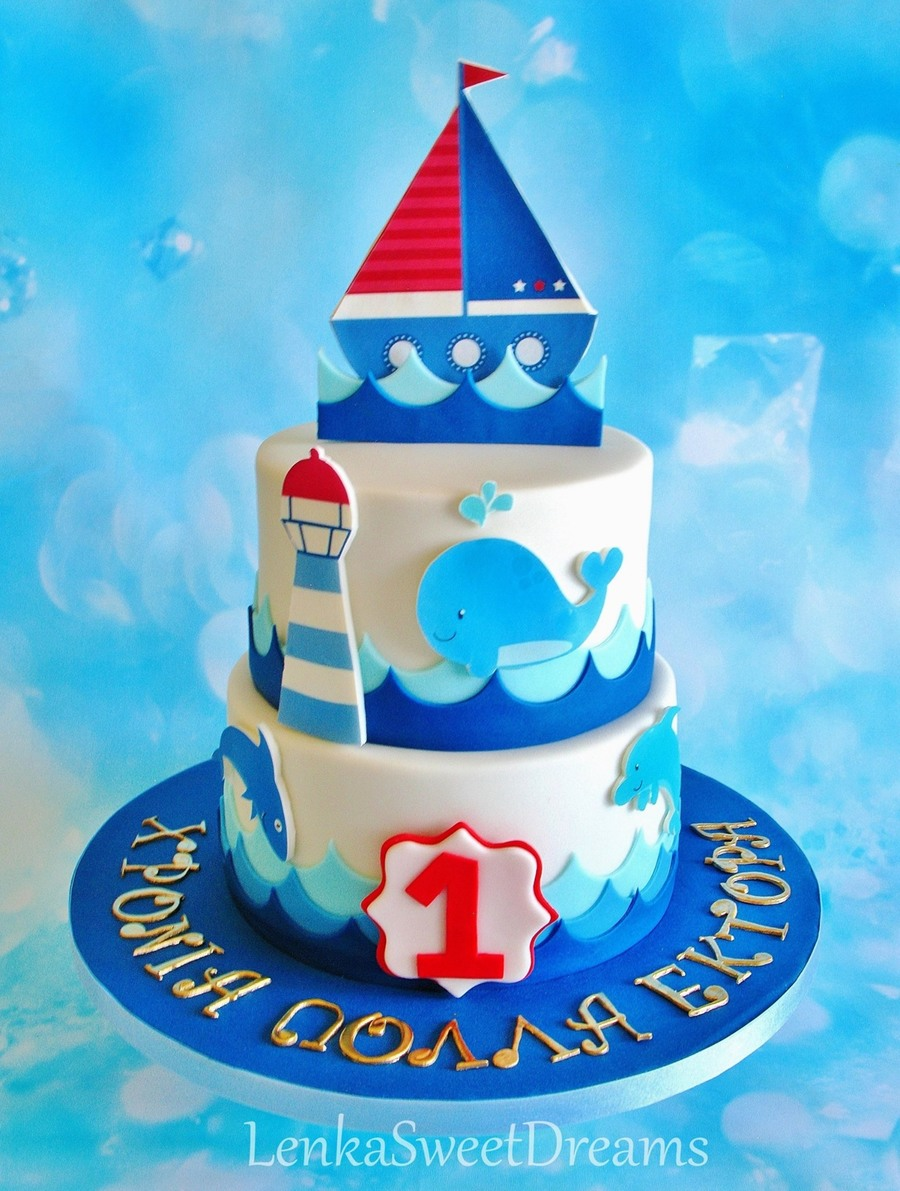 Nautical Birthday Cake For A Little Sailor Cakecentral