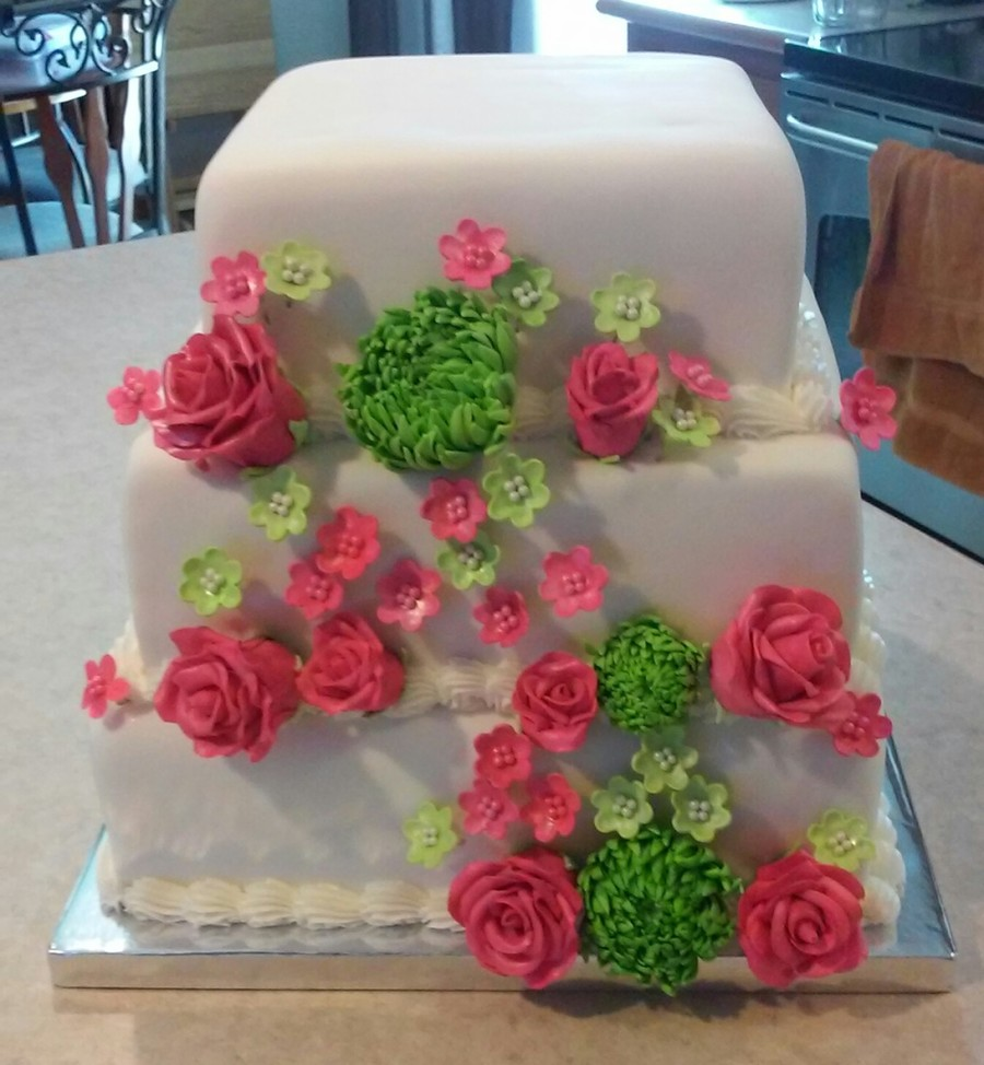 lime green and hot pink wedding cakes pink roses and lime green spider wedding cake 16896