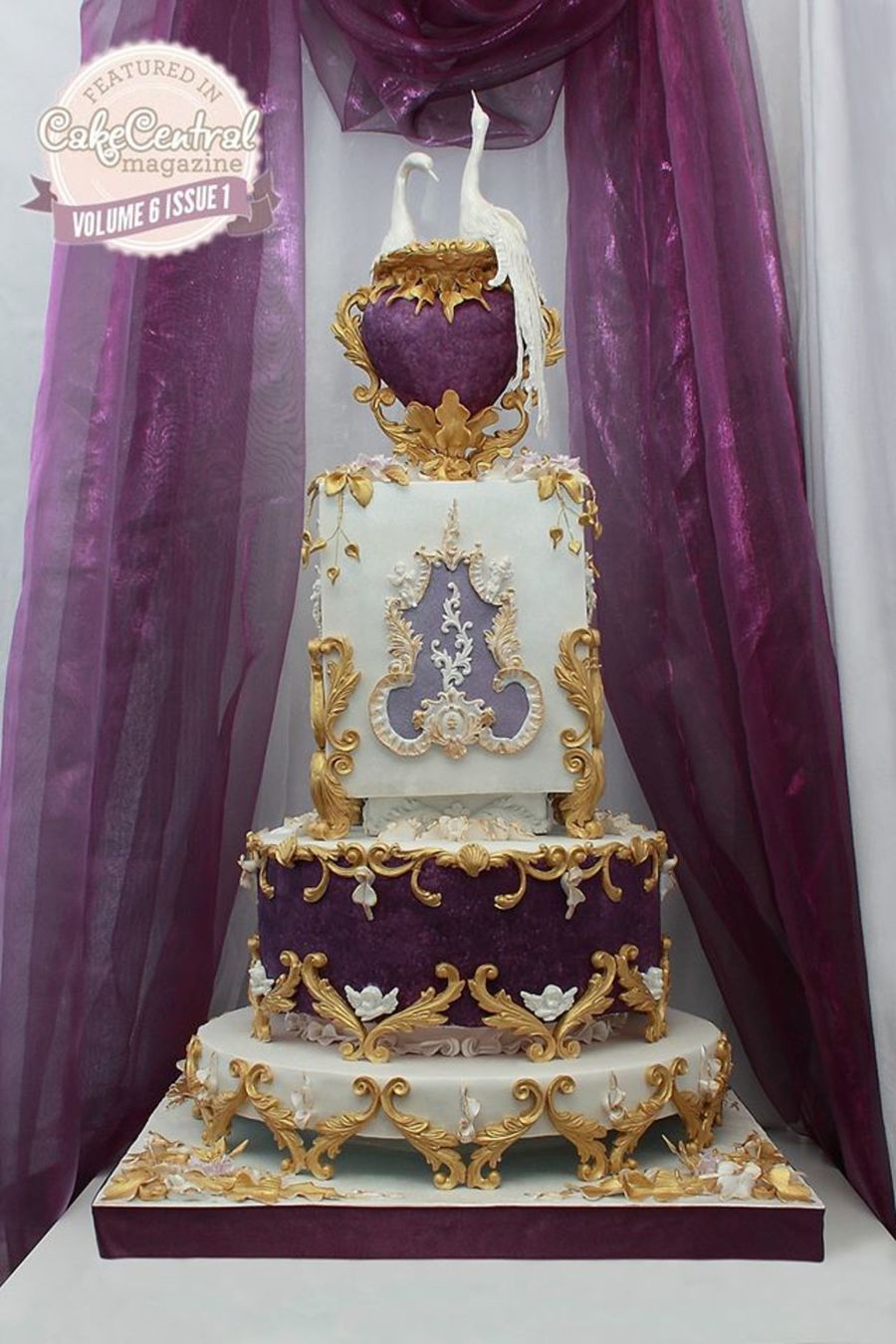 Rococo Purple Wedding Cake on Cake Central