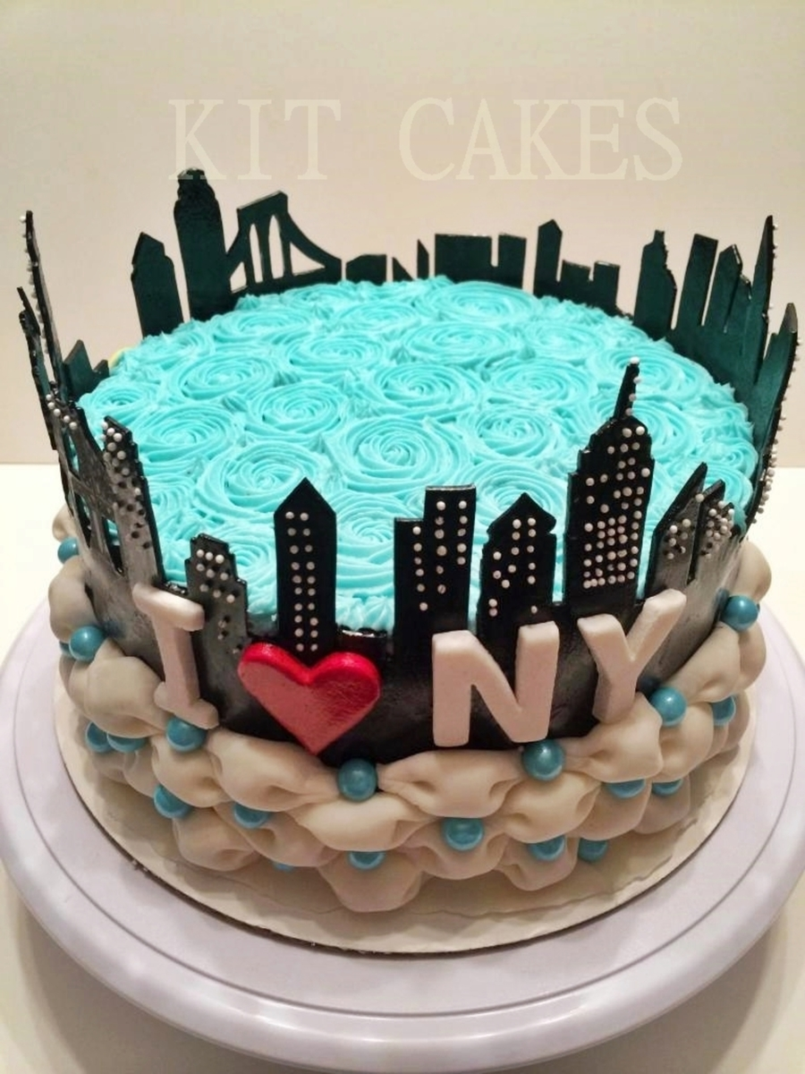 New York City Skyline Billowed Rosette Cake Cakecentral Com