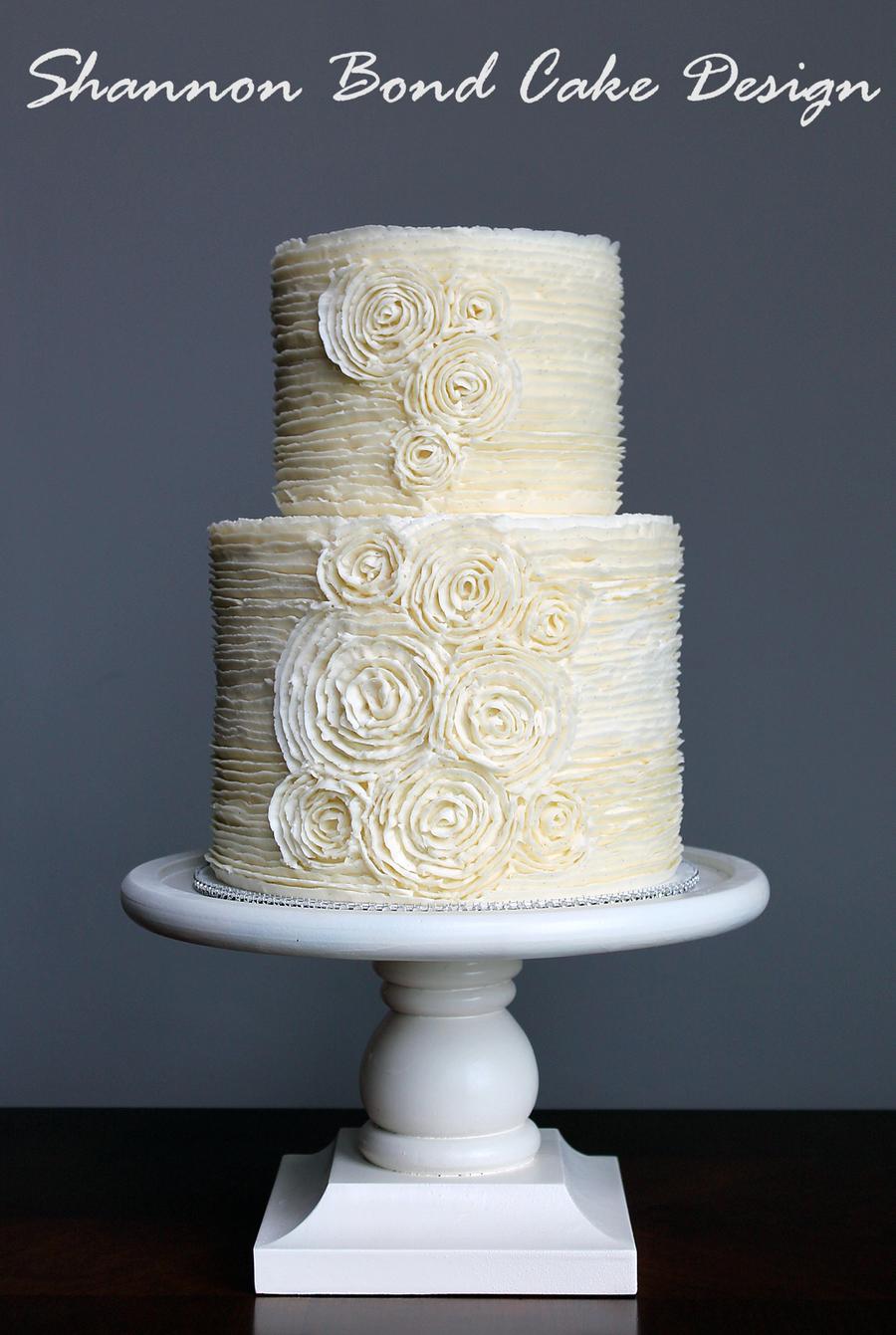 Romantic Buttercream Rosette Cake Cakecentral Com