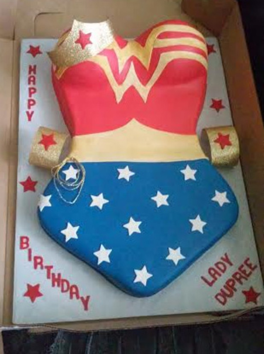Wonder Woman Themed Birthday Cake Cakecentral