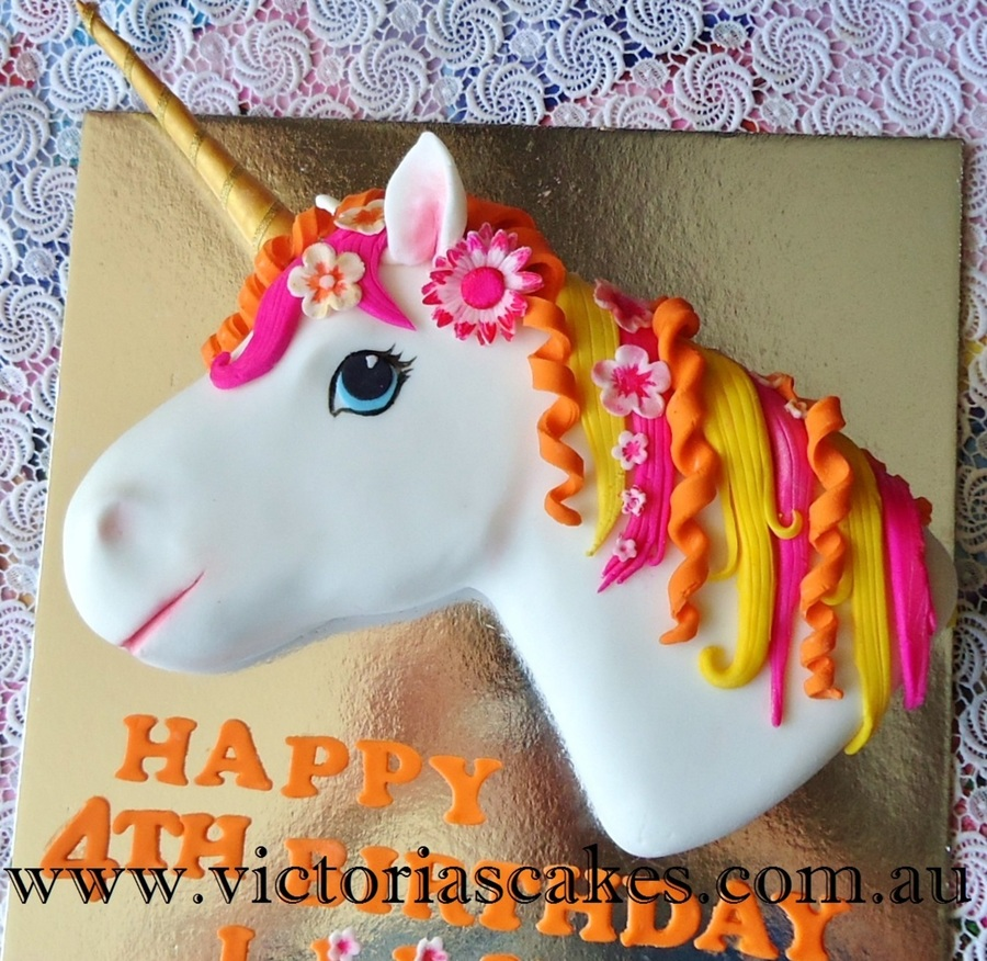 3d Unicorn Head Birthday Cake Cakecentral Com