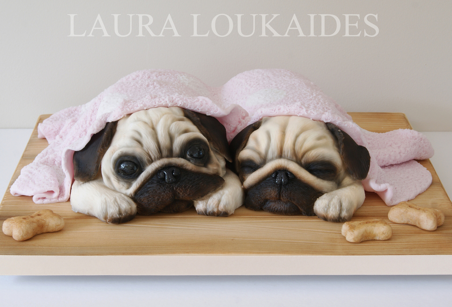 Agnes Amp Ethel The Sleepy Pugs Cakecentral Com