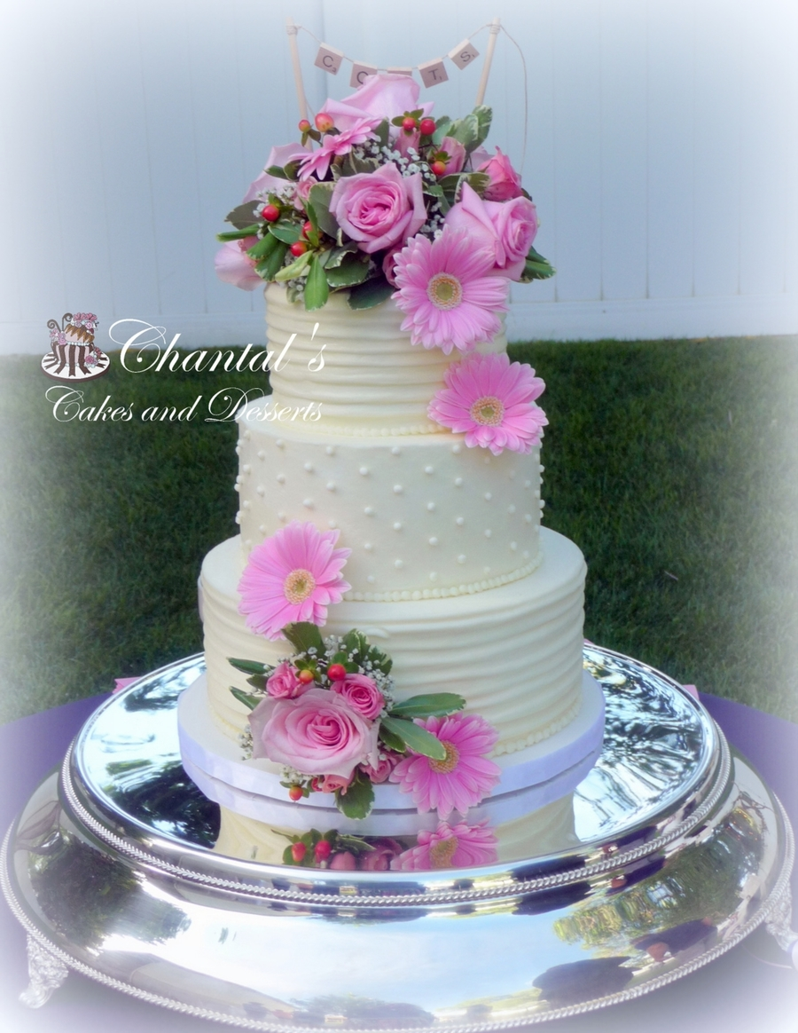 Lines And Dots Buttercream Wedding Cake Cakecentral Com
