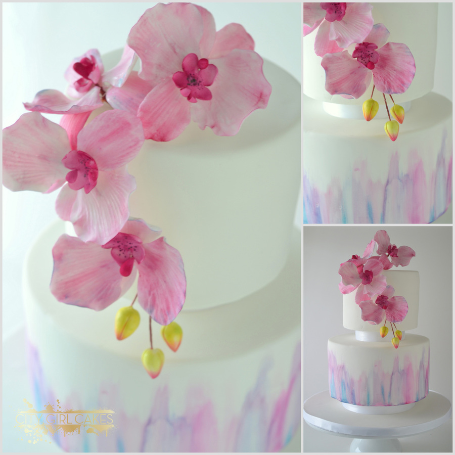 Watercolor And Orchids on Cake Central