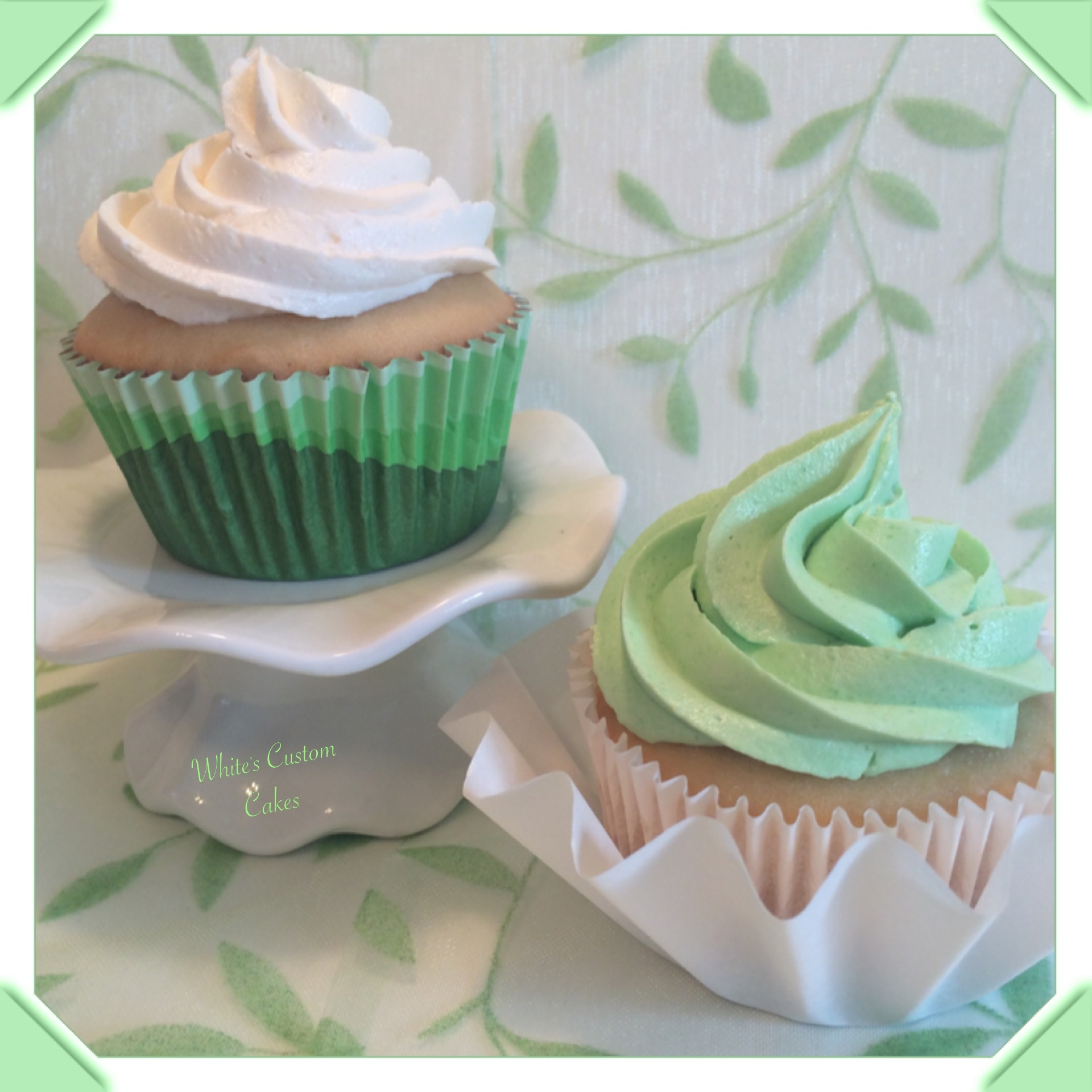Green And White Wedding Cupcakes CakeCentral
