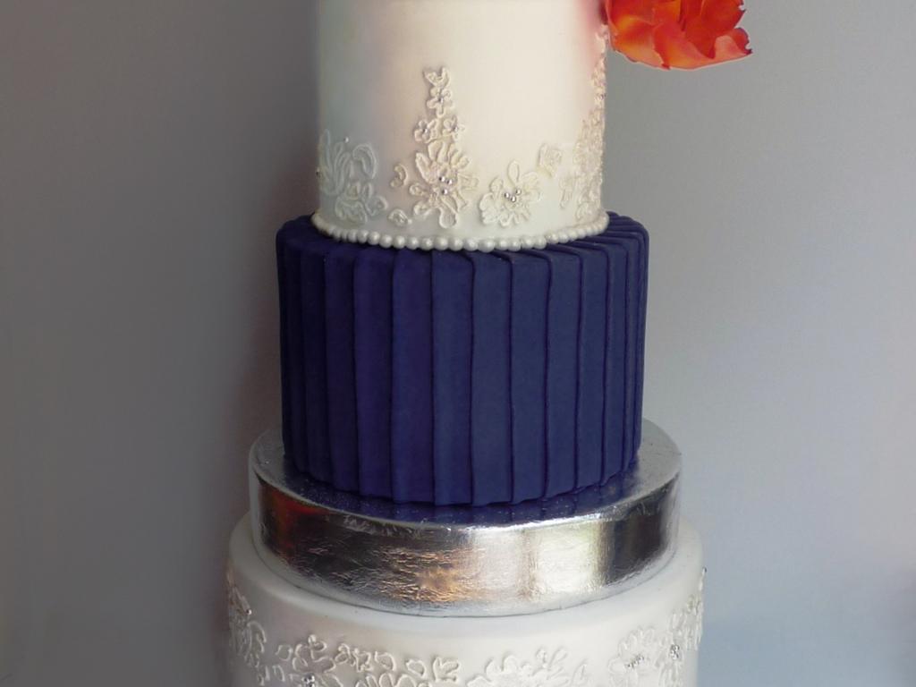 Navy & Orange Wedding Cake - CakeCentral.com