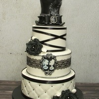 Wedding Cake Black and white skull wedding cake