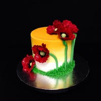 Poppy Time Buttercream cake with gumpaste flowers