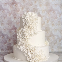 "Wedding Cake With Ruffles   This is a 6""+8""+10"" with all fondant ruffles"