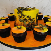 Safari Sunset Butterflies Chocolate cake & cupcakes. Covered in fondant and airbrushed with hand painted butterflies