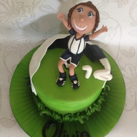 Soccer Loving Gal Vanilla sponge & buttercream. Covered in fondant and airbrushed