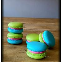 Green Blue Pink French Macarons Green Blue Pink French Macarons