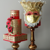 "Venetian Mask Cake Another cake by Sweet Temptations - Custom Cakes and Desserts by Albena from the line ""Metalics"". It was inspired by the..."