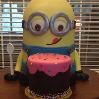 Minion Cake I made this Cake for my friends daughter. It was an absolute hit. I made a little paper pattern for his overalls and made the cake with...