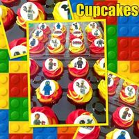 Lego Mania These cupcakes were requested for a Lego themed birthday party. It is a two tone swirled cupcake with a fondant topper with an edible image...