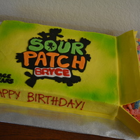 Sour Patch Kids cake decorated like Sour Patch Kids candy box for birhtday