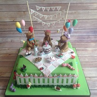 Teddy Bears Picnic. Made this for my friend's little daughter who celebrated her first birthday yesterday. All the accents are made out of gum paste and...