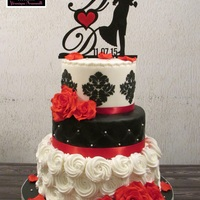 Wedding Cake Black, white and red wedding cake