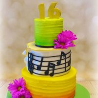 16Th Birthday Cake Airbrushed butter cream cake with fondant music sheet and topper. real flowers