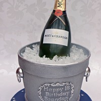 Champagne Bottle And Bucket - Completely Edible This bottle was made using rice crispy treats. loved how realistic it turned out. Thanks for looking.