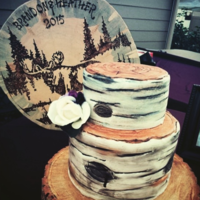 Rustic Birch Tree Fondant Wedding Cake This is the first time I have worked with fondant and the birch tree effect. This bride wanted a cake to compliment the wood burned sign...