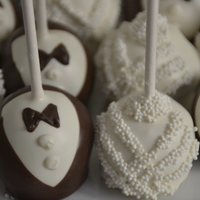 Bride & Groom Cake Pops cake pops decorated like wedding dress & tux