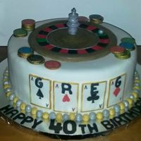 Casino 40Th Birthday Cake Roulette Wheel is made of fondant and gum paste and the poker chips are gum paste.