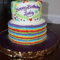 "Fiesta-Inspired Birthday Cake Two tier (6"",8""). All buttercream"