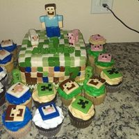 Minecraft Cake Minecraft cake and matching cupcakes