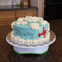1St Birthday Airplane Cake Vanilla cake with vanilla buttercream. There was a fondant #1 with an airplane to go on top