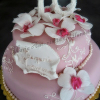 70Th Happy Birthday Orchids in fondant and royal icing decoration