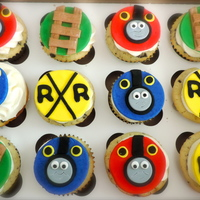 Thomas The Train Cupcakes Cookies and cream cupcakes with cream cheese frosting and fondant cupcake toppers