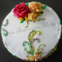 Happy Birthday Decoration in fondant and buttercream painting