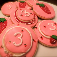 Strawberry Shortcake Cookies Sugar cookies with royal icing and fondant