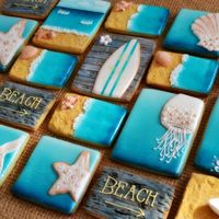 Beach Cookie Set Beach inspired sugar cookie set, using fondant and royal icing. By Belle from Belleissimo Cookies https://www.facebook.com/...