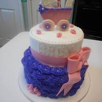 Girl Baby Shower All decorations are made with MMF on this baby shower cake