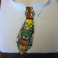 "Looney Tunes Tie Cake A friend asked for a Father's Day cake and said ""make it look like a tie."" I asked if her husband had a specific tie she..."
