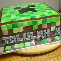 Minecraft Double chocolate fudge cake with chocolate fudge icing and tiles made of fondant. For a little girl's birthday who loves to play...