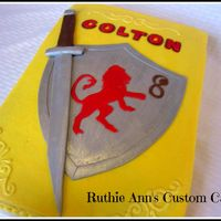 Knight Cake   Knight cake with BC frosting and fondant shield & sword