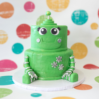 Robot Baby   Basically a tiered cake with some fondant accents. Loved making this for a local fundraiser <3