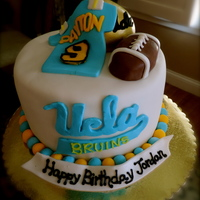 Ucla Football Cake Vanilla cake with fresh whipped cream and strawberriesFondant cake toppers