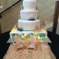 Lake Michigan Beach Wedding Cake This cake was assembled on site 3 hours from home. Had to bring everything with me. Most edibles (cakes, frostings, fondant) were brought...