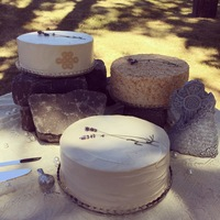 July 18, 2015 Wedding Top to bottom Spice cake with cream cheese filling, ivory buttercreamWhite cake with coconut cream cheese filling, toasted coconutLavender...