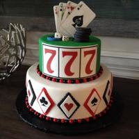Casino Themed Grooms Cake Casino themed cake with edible images for details.
