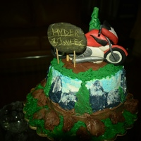 Mountain Cake Bike the bike is made out of gumpaste and i used buttercream to paint the landscape around the cake