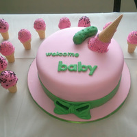 Pickles And Ice Cream Baby Shower Cake Pickles and Ice Cream Theme Cake. Bow and pickle were made with fondant. Ice Cream topper is a cake pop with melted candy coating. Ice...